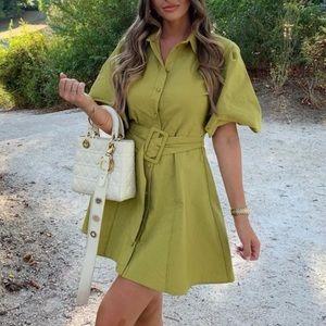 NEW Zara Balloon Sleeve Belted Shirt Mini Dress S